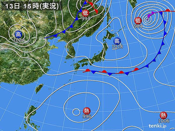 実況天気図(2019年09月13日)