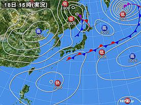 実況天気図(2019年09月18日)
