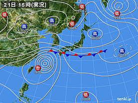 実況天気図(2019年09月21日)