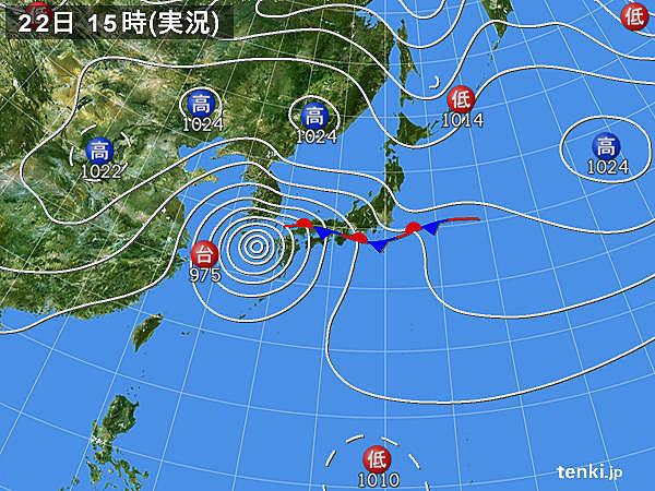 実況天気図(2019年09月22日)