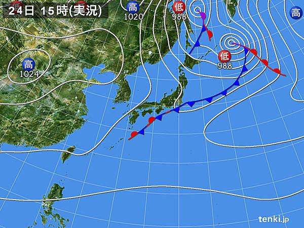 実況天気図(2019年09月24日)