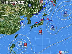実況天気図(2019年09月29日)