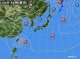 実況天気図(2019年09月30日)