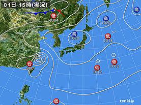 実況天気図(2019年10月01日)