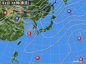 実況天気図(2019年10月02日)
