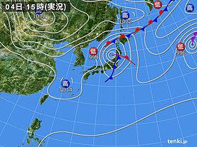 実況天気図(2019年10月04日)