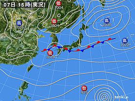 実況天気図(2019年10月07日)