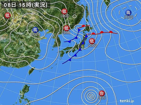 実況天気図(2019年10月08日)