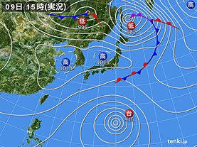 実況天気図(2019年10月09日)