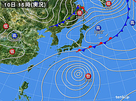 実況天気図(2019年10月10日)