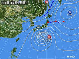実況天気図(2019年10月11日)
