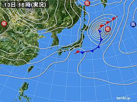 実況天気図(2019年10月13日)
