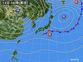 実況天気図(2019年10月14日)