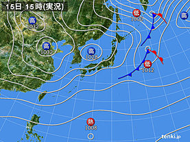 実況天気図(2019年10月15日)