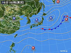 実況天気図(2019年10月16日)