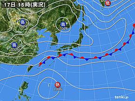 実況天気図(2019年10月17日)
