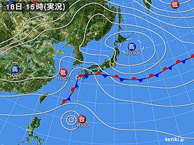 実況天気図(2019年10月18日)