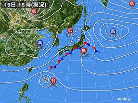 実況天気図(2019年10月19日)