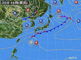 実況天気図(2019年10月20日)