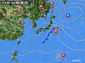 実況天気図(2019年10月22日)