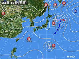 実況天気図(2019年10月23日)