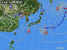 実況天気図(2019年10月24日)