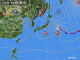 実況天気図(2019年10月25日)
