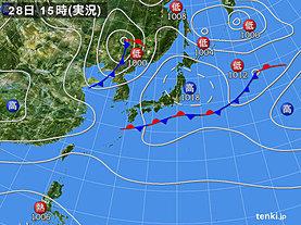 実況天気図(2019年10月28日)