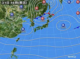 実況天気図(2019年10月31日)