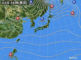 実況天気図(2019年11月02日)