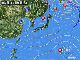 実況天気図(2019年11月05日)
