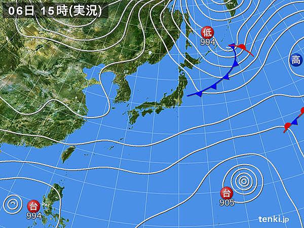 実況天気図(2019年11月06日)