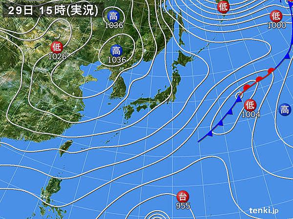実況天気図(2019年11月29日)