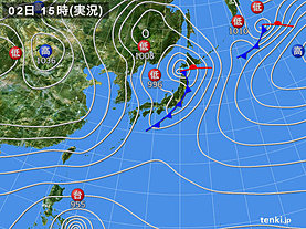 実況天気図(2019年12月02日)