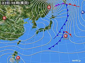 実況天気図(2019年12月03日)