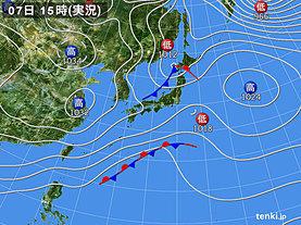 実況天気図(2019年12月07日)