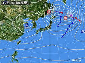 実況天気図(2019年12月12日)