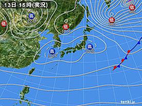 実況天気図(2019年12月13日)