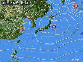 実況天気図(2019年12月16日)