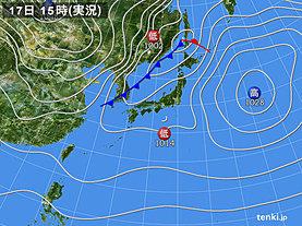 実況天気図(2019年12月17日)