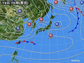 実況天気図(2019年12月19日)