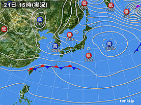 実況天気図(2019年12月21日)