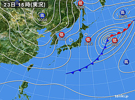 実況天気図(2019年12月23日)
