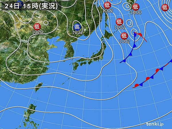 実況天気図(2019年12月24日)