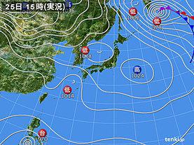 実況天気図(2019年12月25日)