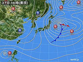 実況天気図(2019年12月27日)