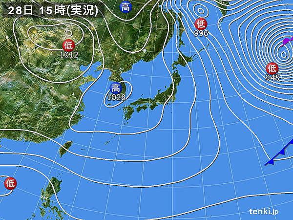 実況天気図(2019年12月28日)
