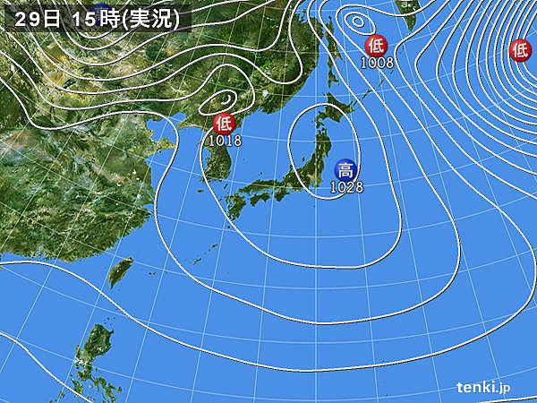 実況天気図(2019年12月29日)