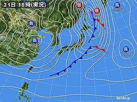 実況天気図(2019年12月31日)
