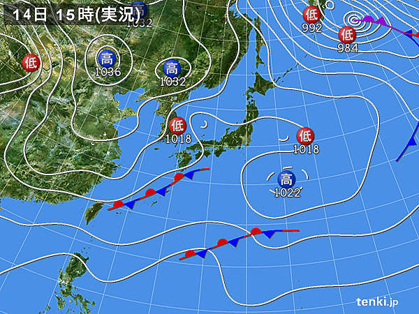 実況天気図(2020年01月14日)